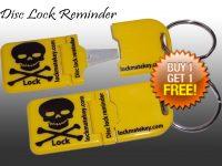 Yellow Metal Tip Disc Lock Reminder Biker Accessories
